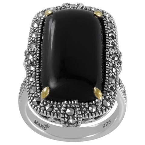 MARC Sterling Rectangular Black Onyx & Marcasite w/ Gold trim Ring