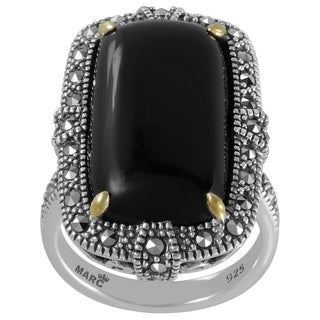 MARC Sterling Silver Ring Set With Cabochon Rectangular Cut Black Onyx & Marcasite, accented with 14K Yellow Gold Prongs