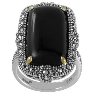 MARC Sterling Silver Ring Set With Cabochon Rectangular Cut Black Onyx & Marcasite, accented with 14K Yellow Gold Prongs|https://ak1.ostkcdn.com/images/products/16257462/P22623516.jpg?impolicy=medium