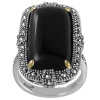 MARC Sterling Silver Ring Set With Cabochon Rectangular Cut Black Onyx & Marcasite, accented with 14