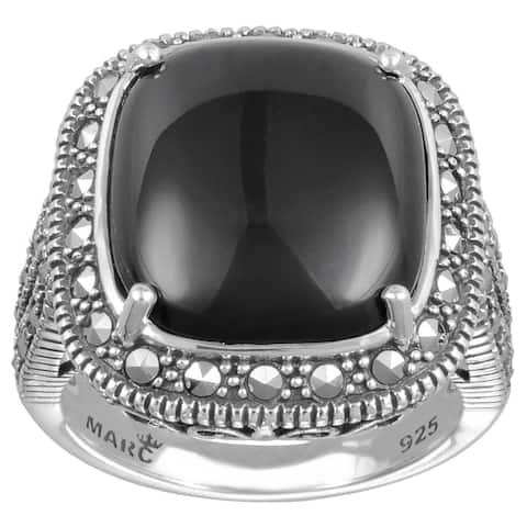 MARC Sterling Silver Cushion Cut Black Onyx & Marcasite Ring