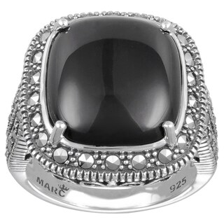 MARC Sterling Silver Ring Set With Cabochon Cushion Cut Black Onyx & Marcasite