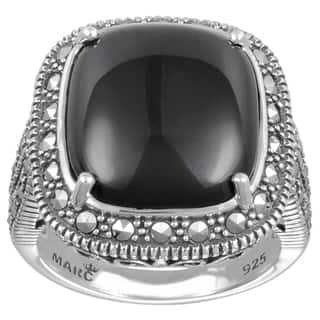 MARC Sterling Silver Ring Set With Cabochon Cushion Cut Black Onyx & Marcasite|https://ak1.ostkcdn.com/images/products/16257463/P22623517.jpg?impolicy=medium