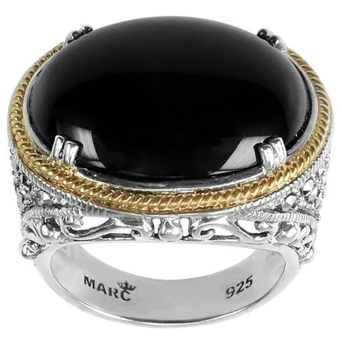 MARC Sterling Oval Cut Black Onyx & Marcasite w/ Gold trim Ring