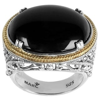 MARC Sterling Silver Ring Set With Cabochon Oval Cut Black Onyx & Marcasite, accented with 14K Yellow Gold Trim