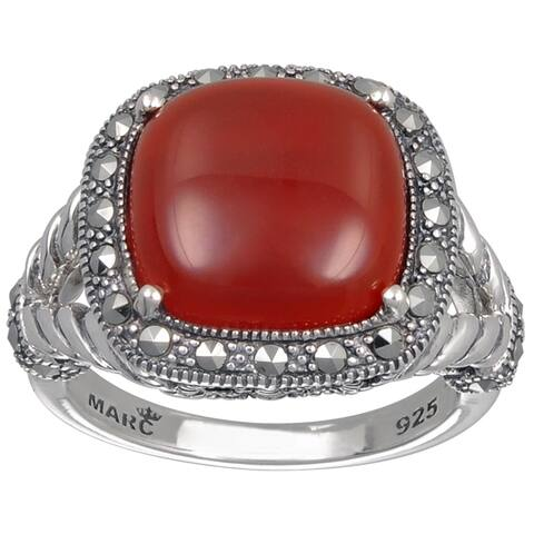MARC Sterling Silver Cushion Cut Red Agate & Marcasite Ring