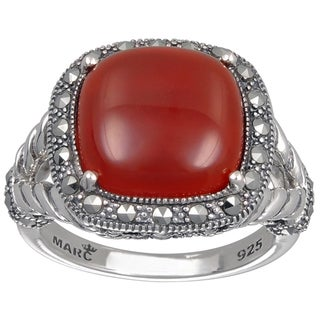 MARC Sterling Silver Ring Set With Cabochon Cushion Cut Red Agate & Marcasite