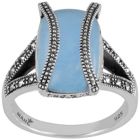 MARC Sterling Silver Rectangular Blue Jade & Marcasite Ring
