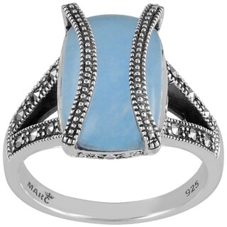 MARC Sterling Silver Ring Set With Cabochon Rectangular Cut Blue Jade & Marcasite, accented with doubled marcasite strips