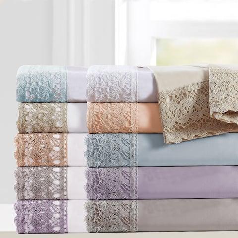 Modern Threads 4-Piece Crochet Lace Microfiber Bed Sheet Set