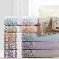 Amrapur Overseas 4-Piece Crochet Lace Microfiber Sheet Set