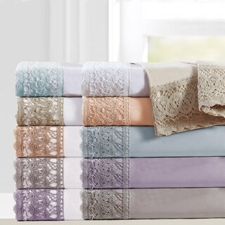 Amrapur Overseas 4-Piece Crochet Lace Microfiber Sheet Set