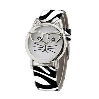 Olivia Pratt Women's Cat in Glasses Animal Print Watch One Size (Option: White)