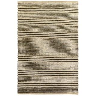 Fab Habitat  Sustainable Jute & Cotton Area Rug Eco-friendly Natural Fibers, Handwoven/Congaree - Black Stripe - Size 2 x 3