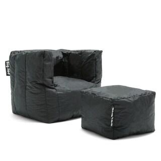 Big Joe Cube & Ottoman Bean Bag Lounger, Stretch Limo Black Smartmax