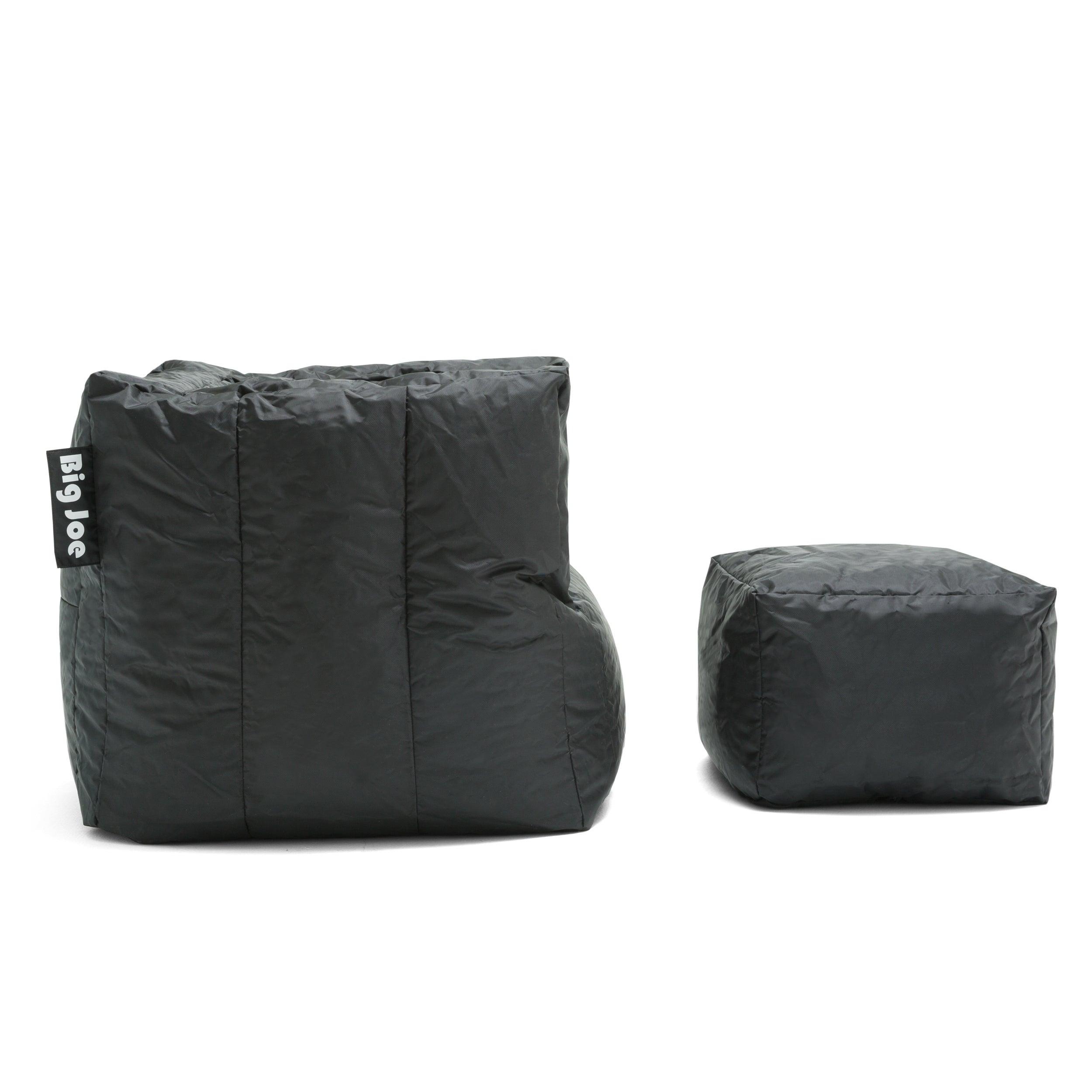 Strange Big Joe Cube Ottoman Bean Bag Lounger Stretch Limo Black Smartmax Evergreenethics Interior Chair Design Evergreenethicsorg