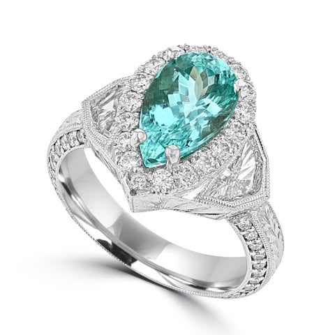La Vita Vital 18K White Gold , GIA certified Paraiba Tourmaline 2.74cts & Diamond Ring