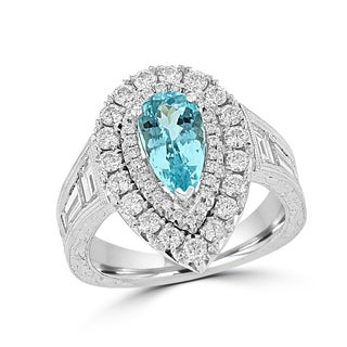 La Vita Vital 18k White Gold GIA certified Paraiba Tourmaline 1.45cts and Diamond 2.15cts TDW Ring
