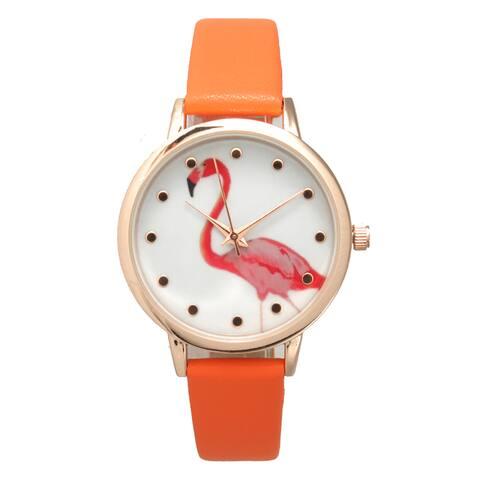 Olivia Pratt Women's Pink Flamingo Petite Leather Watch
