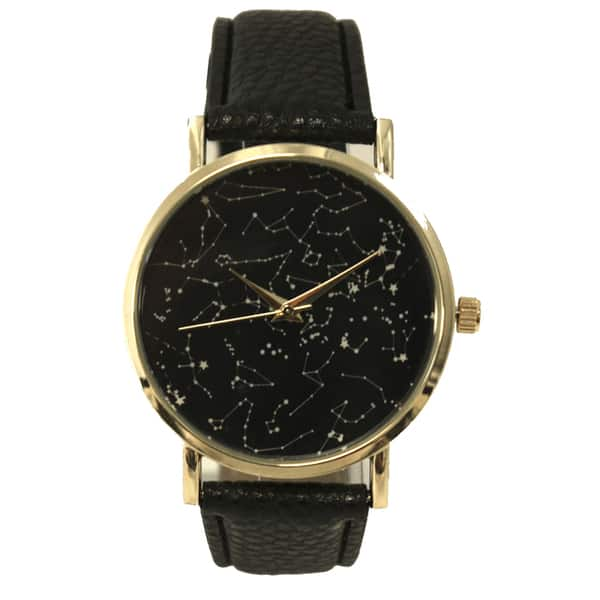Shop Olivia Pratt Women\'s Constellaion Map Leather Watch One ...