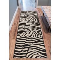 Eastgate Animal Print Novelty Zebra Black Beige Runner Rug (2' x 7'2 ) - 2' x 7'3""