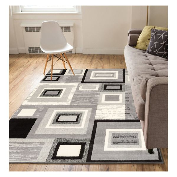 """Well Woven Eastgate Geometric Modern Squares Grey Area Rug - 9'3"""" x 12'6"""""""