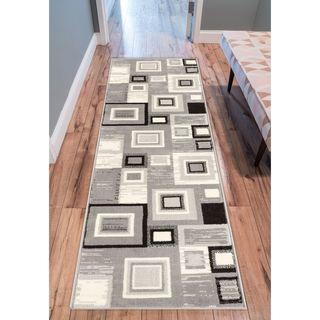 Eastgate Geometric Modern Squares Grey Runner Rug (2' x 7'2 )