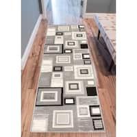"Eastgate Geometric Modern Squares Grey Runner Rug (2' x 7'2 ) - 2' x 7'3"""