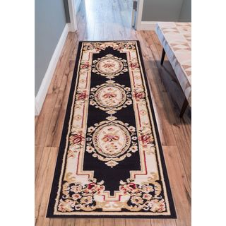Eastgate Traditional French Country Aubusson Black Beige Runner Rug (2' x 7'2 )