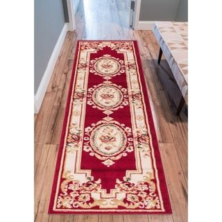 Eastgate Traditional French Country Aubusson Red Runner Rug (2' x 7'2 )