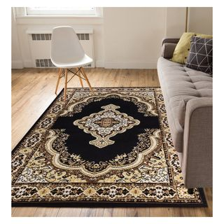 Eastgate Traditional Medallion  Black Area Rug (9'3 x 12'6)