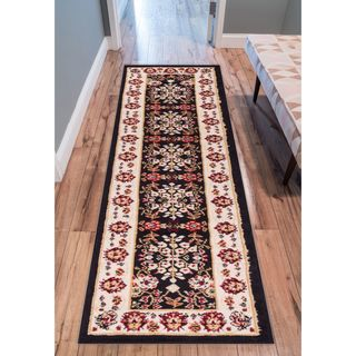 Eastgate Traditional Oriental Classic Black Runner Rug (2' x 7'2 )