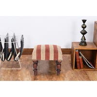 Handmade Herat Oriental Indo Kilim Upholstered Footstool (India)