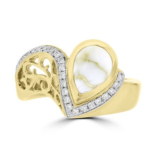 La Vita Vital 14K Yellow Gold & Gold Quartz 1.38cts and Diamond Ring 0.16ct TDW (SI1-VS, G-H)