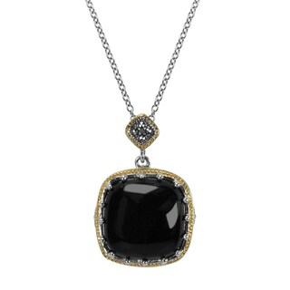 MARC Sterling Square Cut Black Onxy & Marcasite w/ Gold trim Pendant