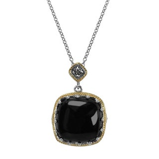 """MARC Sterling Silver Pendant Cabochon Square Cut Black Onxy & Marcasite, accented with 14K Yellow Gold Trim Pendant in 18"""" chain"""