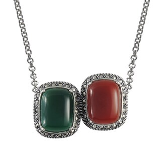 MARC Sterling Silver Cabochon Rectangular Cut Green Agate & Red Agate, accented with Marcasite in 18