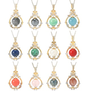 Michael Valitutti Palladium Silver Gemstone Bead & Teardrop Frame Pendant (Option: Sunstone)