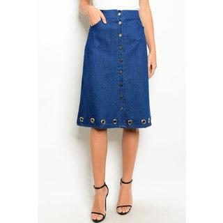 JED Women's High Waist Blue Denim Button Up Skirt