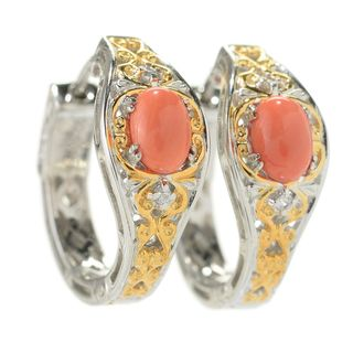 Michael Valitutti Palladium Silver Oval Salmon Bamboo Coral & White Topaz Hoop Earrings