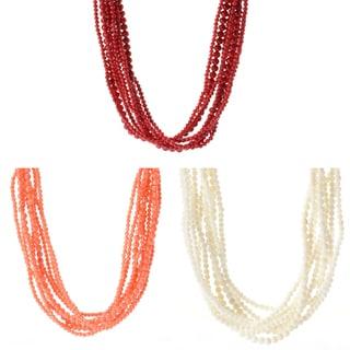 Michael Valitutti Palladium Silver Bamboo Coral Multi Strand Toggle Necklace