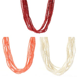Michael Valitutti Palladium Silver Bamboo Coral Multi Strand Toggle Necklace