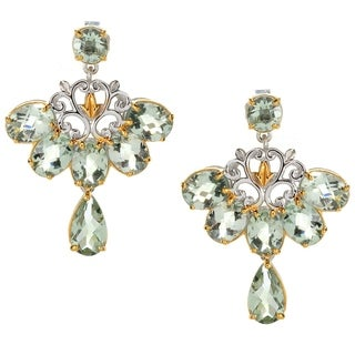 Michael Valitutti Palladium Silver Montezuma Green Amethyst Fan Dangle Earrings