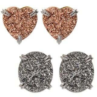 Michael Valitutti Palladium Silver Drusy Stud Earrings