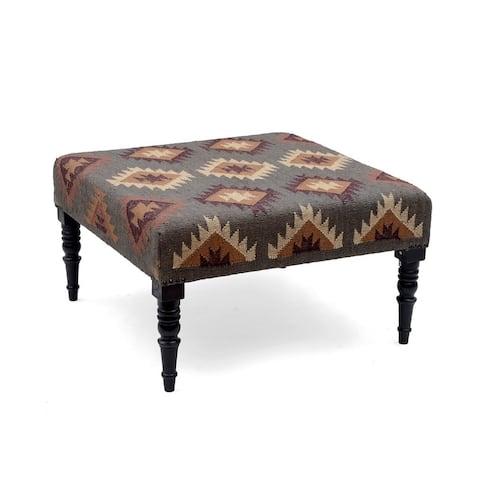 Handmade Herat Oriental Indo Kilim Upholstered Wooden Ottoman (India)