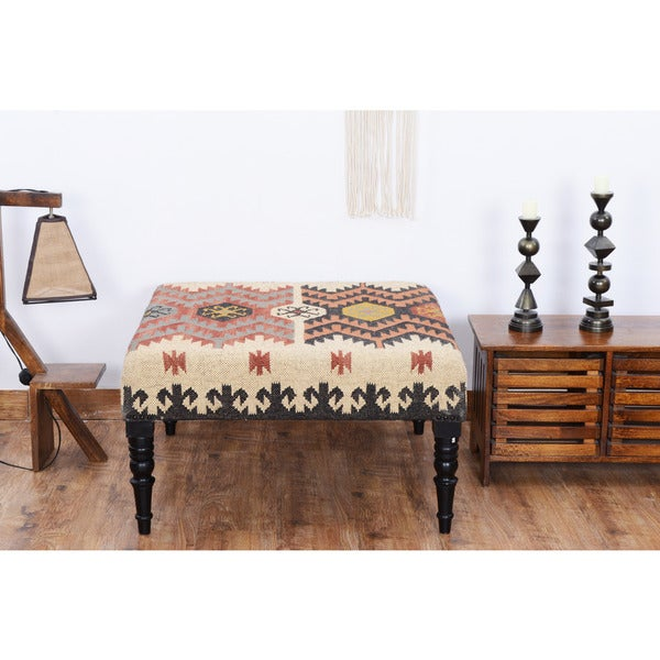 Herat Oriental Indo Handmade Kilim Upholstered Wooden Ottoman