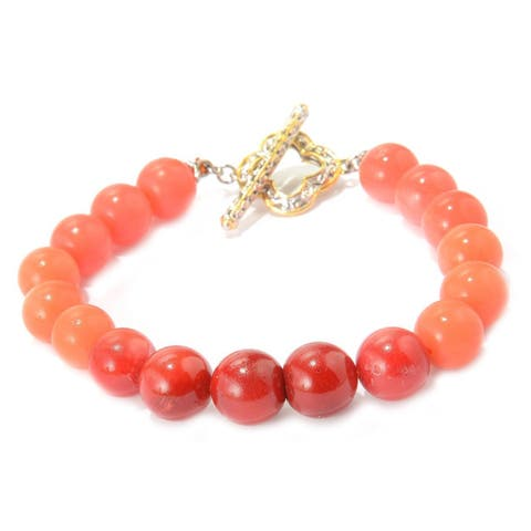 Michael Valitutti Palladium Silver Ombre Salmon Bamboo Coral Beaded Toggle Bracelet