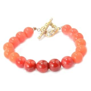 Michael Valitutti Palladium Silver Ombre Salmon Bamboo Coral Beaded Toggle Bracelet|https://ak1.ostkcdn.com/images/products/16258393/P22624372.jpg?impolicy=medium