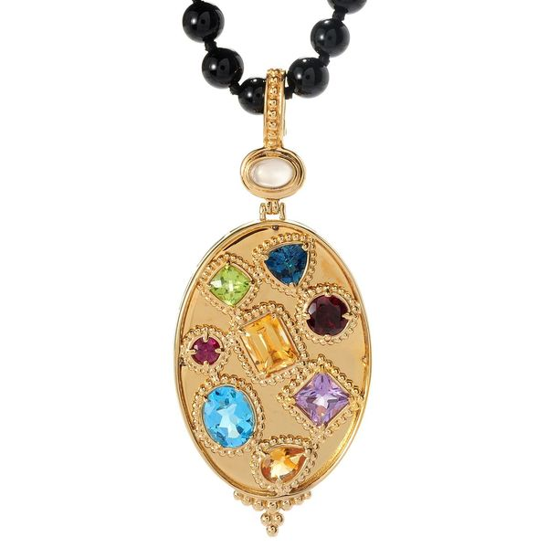 Shop michael valitutti palladium silver etruscan collection multi michael valitutti palladium silver etruscan collection multi gem pendant with onyx bead necklace aloadofball Gallery