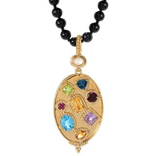 Michael Valitutti Palladium Silver Etruscan Collection Multi Gem Pendant with Onyx Bead Necklace|https://ak1.ostkcdn.com/images/products/16258404/P22624410.jpg?impolicy=medium